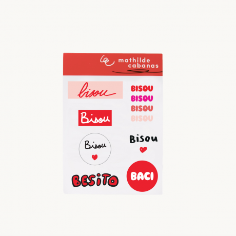 Planche stickers Bisou